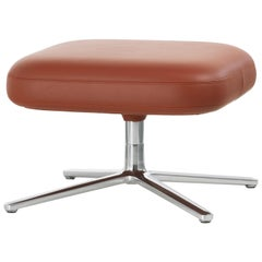 Vitra Repos Ottoman in Brandy Leather by Antonio Citterio