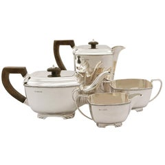 Vintage Art Deco Style Sterling Silver Four-Piece Tea and Coffee Service