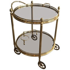 Maison Bagués, Neoclassical Round Brass Drinks Trolley, French, circa 1940