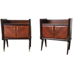 Italian Classic Nightstands in Mahogany Top in Mirror Glass, Set of Two, 1940s