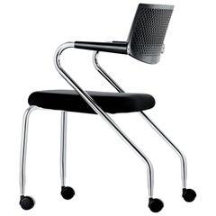 Vitra Visaroll 2 Visitor Chair in Nero Plano by Antonio Citterio