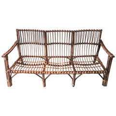 Italian Midcentury Bamboo and Rattan Sofa with Three-Seat, 1950s