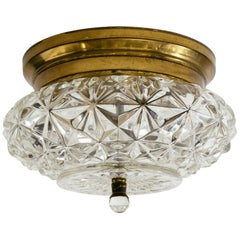 Pair of German Glass and Brass Flush Mount Chandeliers