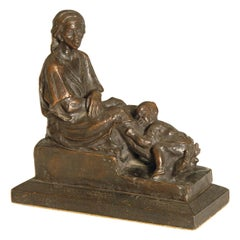 Bronze Study of African Woman and Child by Alfredo Pina, 1920