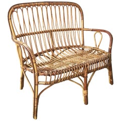 Italian Classic Sofa in Bamboo and Rattan with Curved Twine, Two-Seat, 1950s