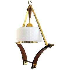 Scandinavian Pendant or Ceiling Lamp in Teak Wood Opaline Glass & Brass, 1950s