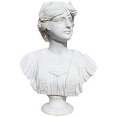 Classical Hand Carved White Marble Female Bust