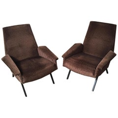 "Italian Midcentury Armchair like ""Lady Armchair"" by Marco Zanuso in Brown, 1950s"
