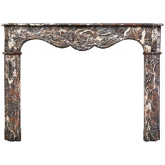 18th Century, Louis XVI Fireplace Mantel in Rare Rouge Royal Marble