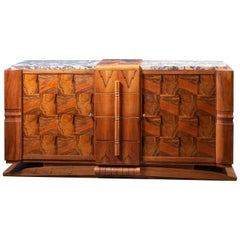 French Art Deco Design Walnut and Marble Sideboard