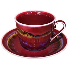 Japanese Hand-Glazed Red Black Porcelain Cup and Saucer by Master Artist, 2018