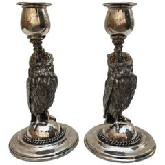 Silverplated Owl Candlesticks