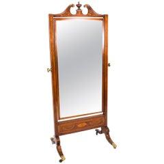 Early 20th Century Edwardian Mahogany Inlaid Cheval Mirror