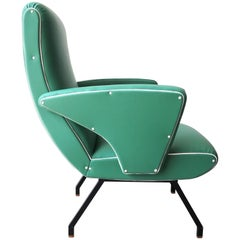 "Midcentury Green Italian Armchair in the Style of ""Lady Armchair"", Marco Zanuso"
