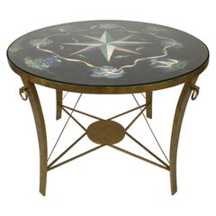 Gilt Iron Centre Table with Painted Top Attributed to Andre Arbus
