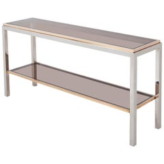 Willy Rizzo Two-Tier Console Table in Chrome and Brass Linea Flaminia
