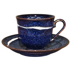 Japanese Black Blue Hand-Glazed Porcelain Cup and Saucer, Master Artist 2018