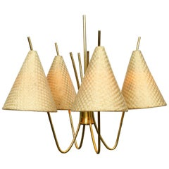 1960s Brass Ceiling Lamp with Bast Shades by J. T. Kalmar Made in Austria