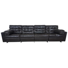 De Sede New York Vintage Four-Seat Sofa in Dark Brown Leather