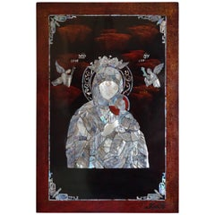 Rare Christian Art, Mother of Pearl Inlaid Mary & Child Jesus Mosaic Wall Panel