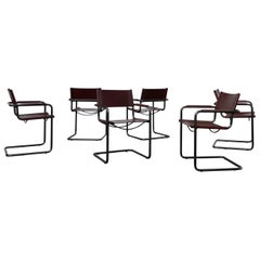 Matteo Grassi Bauhaus Leather MG5 Dining Chairs by Mart Stam, 1970s, Set of 6