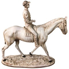 20th Century Sculpture with Horse and Jockey in Ceramics