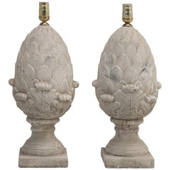 Pair of Faux Stone Lamps in the Form of an Artichoke