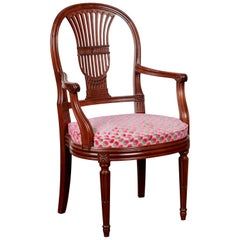 Louis XVI French Oak Harp Back Occasional Chair, circa 1890