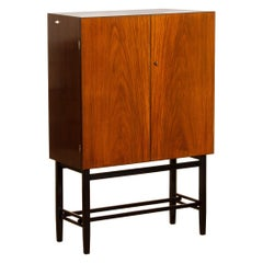 1968, Scandinavian Mahogany and Brass Dry Bar Cabinet