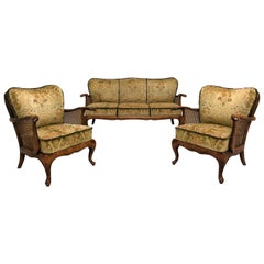 Paolo Buffa Living Room Velour Hand, Caned Set Sofa and Two Armchairs, Italy