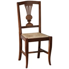 Modern Italian Lyre Back Walnut, Rush Seating Dining Chairs, Eight Available