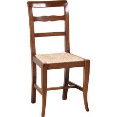 Modern Italian Walnut Ladder Back Rush Seating Dining Chairs, Ten Available