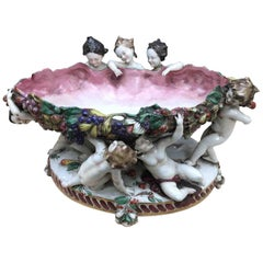 Early 20th Century Capodimonte Porcelain Oval Centrepiece with Cherubs