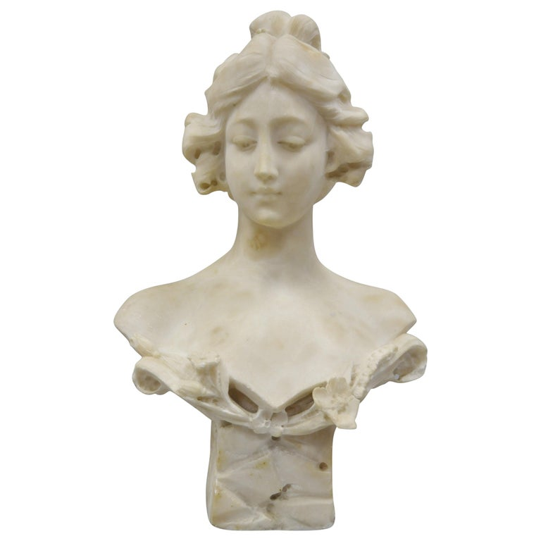 Hand Carved Italian Marble Bust Statue of Maiden Signed A. Cipriani