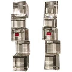 21st Century Pair of Abstract Clear Crystal Baccarat Modern Style Candleholders