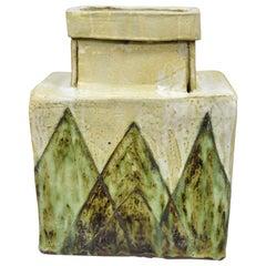 Large Mid-Century Modern Italian Ceramic Pottery Vase Vessel Green and Cream