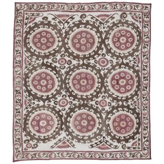 Vintage Central Asian Suzani Embroidery Rug