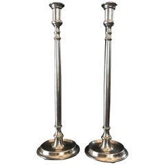 Pair 21st Century Italian Burnished Pewter Antique Victorian Style Candleholders