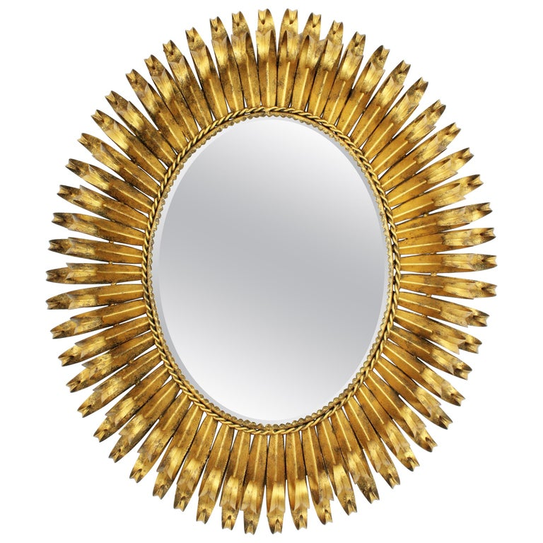 1950s Spanish Brutalist Hammered Gilt Metal Eyelash Oval Sunburst Mirror  For Sale