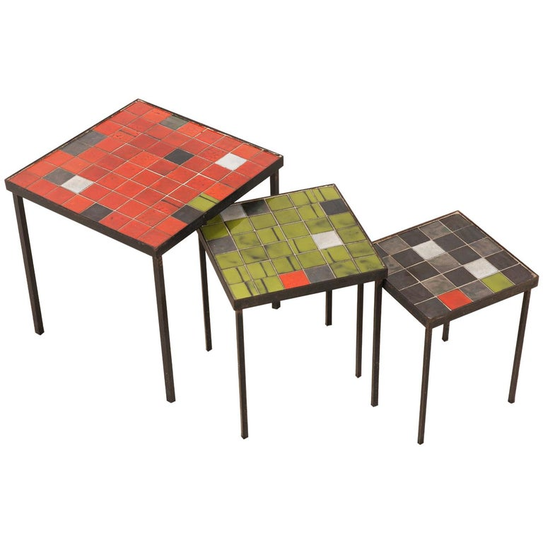 Mado Jolain and René Legrand, Set of 3 Nesting Tables For Sale