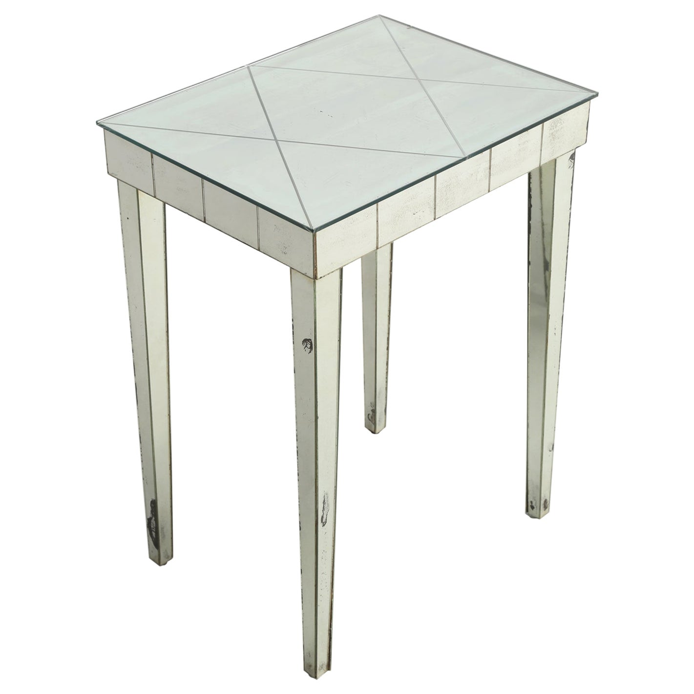 Vintage Mid-Century Modern Mirror End Table or Side Table