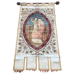 Late 19th Century Great Quality Needlework Mary and Child Jesus Religious Banner