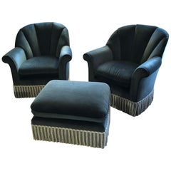 Sumptuous Pair of Blue Velvet Barrel Shaped Club Chairs with Ottoman