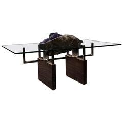 Studio Greytak Iceberg Table with Amethyst, Polished Bronze and Burl Walnut