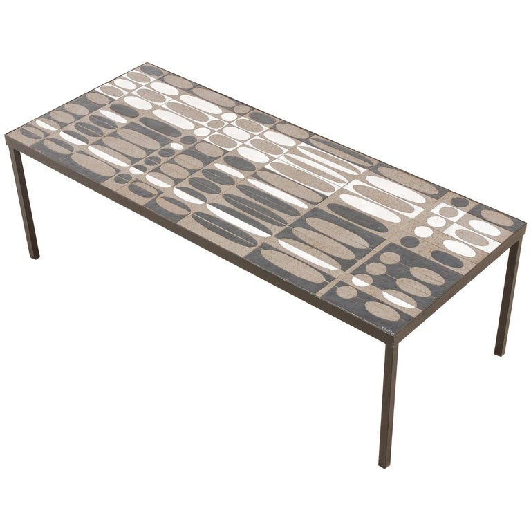 Roger Capron, Large Coffee Table with Ceramic Tiles, circa 1950 For Sale
