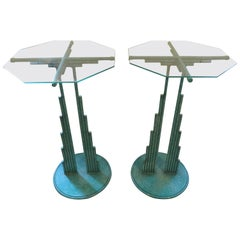 Rare Pair of Curtis Jere Memphis Style Side Tables Pedestals, Mid-Century Modern