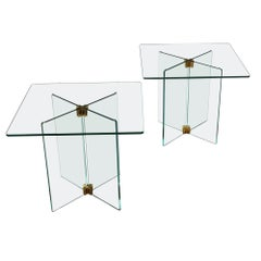 Pair of Italian 20th Century Glass Occasional Tables after Fontana Arte