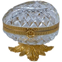 French Cut Glass & Ormolu Mounted Egg Box, in the Manner of Baccarat