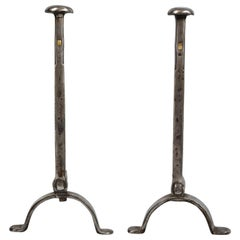 Pair of Burnished Iron Andirons