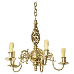Brass Chandelier with Open Spiral Centre